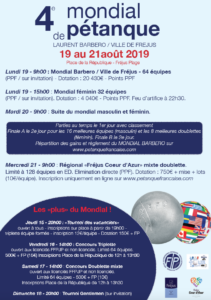 Programme Mondial de pétanque Laurent Barbero / Ville de Fréjus